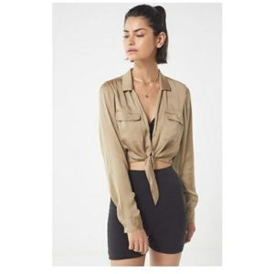 Urban outfitters logan satin tie front top